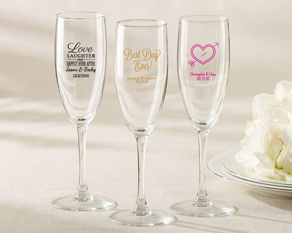 Personalized Bridal Shower and Wedding Favors Champagne Flute