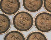 Vintage Wine Barrel Personalized Cork Coaster Wedding Favors for Guests