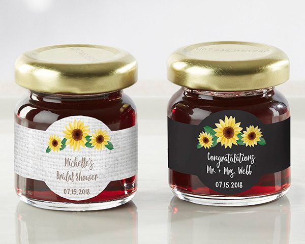 Personalized Sunflower Strawberry Jam (Set of 12)