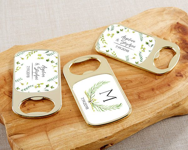 Personalized Botanical Garden Gold Bottle Opener