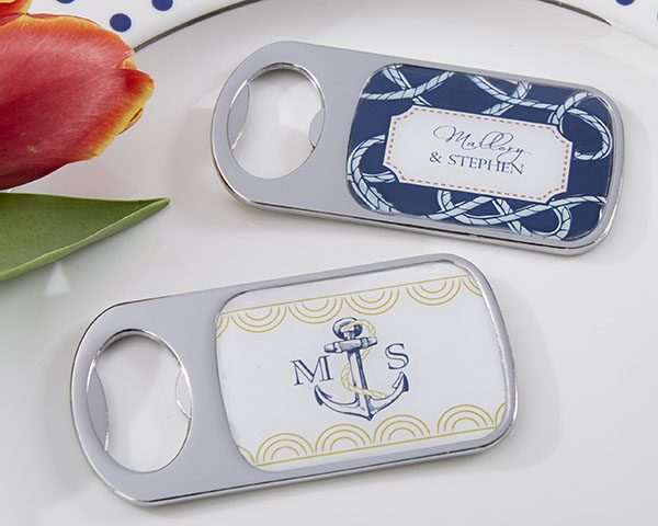 Personalized Nautical Wedding Silver Bottle Opener