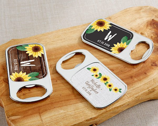 Personalized Sunflower Silver Bottle Opener