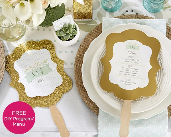 Rustic Wedding Gold Glitter Hand Fan - Set of 12 (Personalization Available)