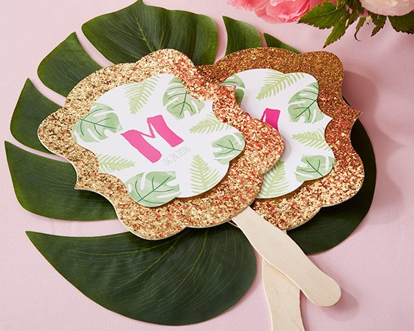 Personalized Pineapples & Palms Gold Glitter Hand Fan