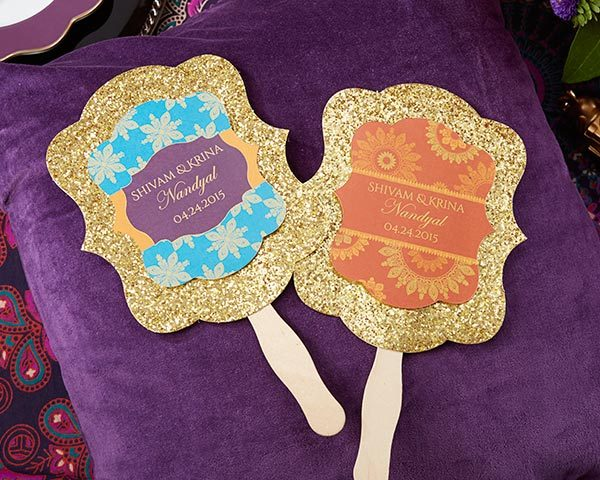 Personalized Gold Glitter Hand Fan- Indian Jewel (Set of 12)
