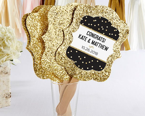 Personalized Party Time Gold Glitter Hand Fan (Set of 12)