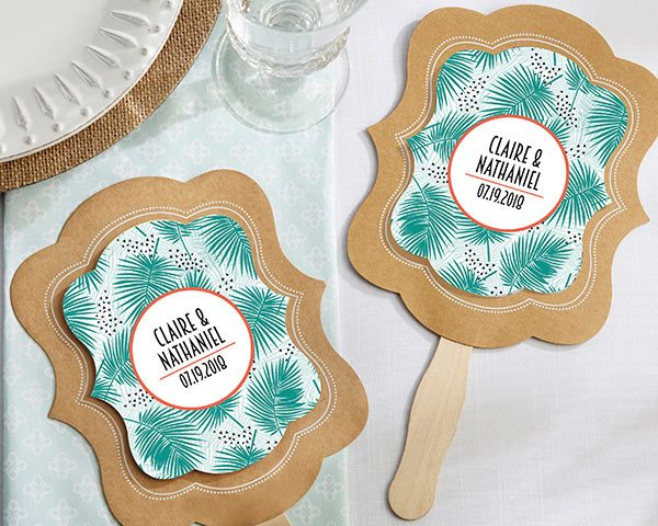 Personalized Tropical Chic Kraft Fan (Set of 12)