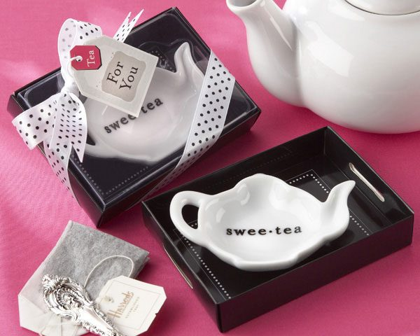 """Swee-Tea"" Ceramic Tea-Bag Caddy - Bridal Shower Favors"