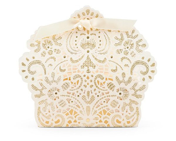 Luscious Foil Lace Favor Box with Ribbon (Set of 10)