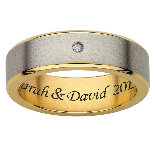 Ladies Titanium Two-Tone Diamond Satin Engraved Band