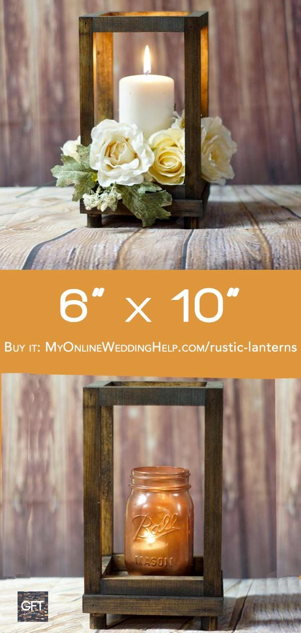 Aisle or centerpiece lantern. Perfect for a rustic wedding. $25 with the feet. $20 without. Learn more or buy through the first listing on the page. In the My Online Wedding Help products section. #MyOnlineWeddingHelp #RusticWedding #WeddingLanterns