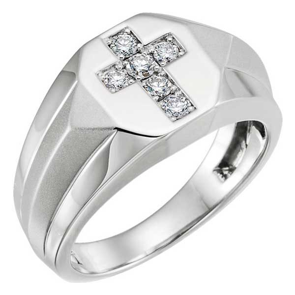Men's 14K White Gold Diamond Cross Ring