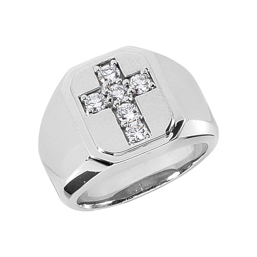 1/3 Carat Men's Diamond Cross Ring, 14K White Gold