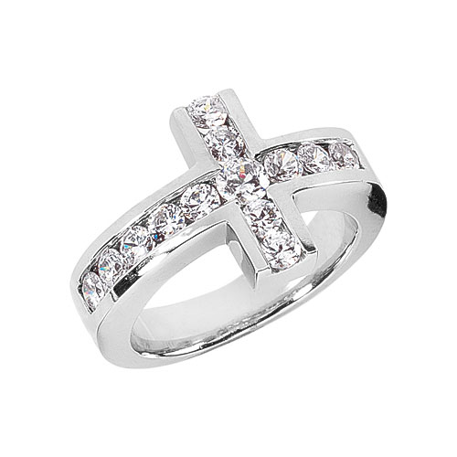 Men's 0.94 Carat Diamond Cross Ring, 14K White Gold
