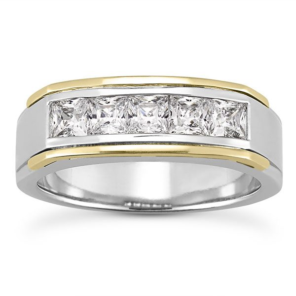 1.25 Carat Men's Princess-Cut Diamond Wedding Band Ring, 14K Two-Tone Gold