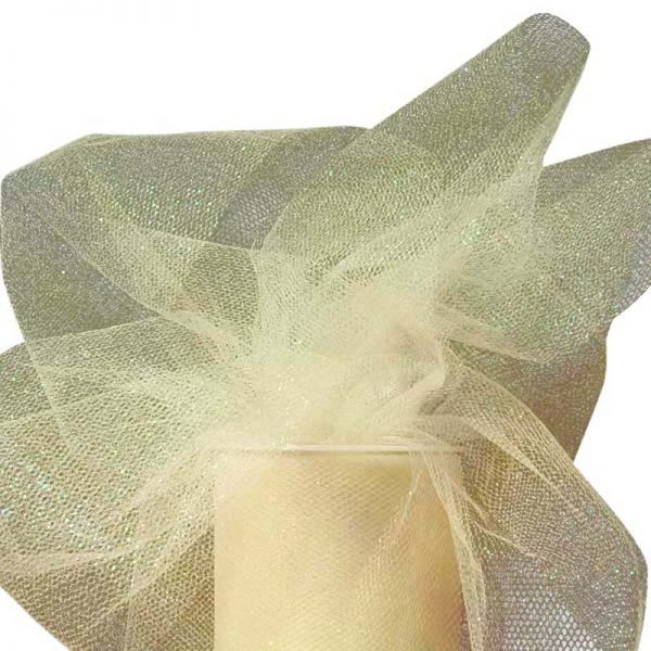 """Ivory Sparkling Tulle Roll Colored - 6"""" X 25yd - Fabric - Width: 6"""" by Paper Mart"""