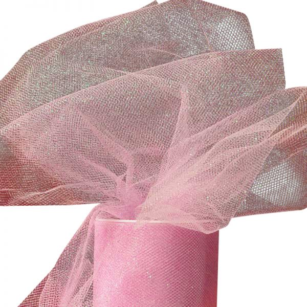 "Pink Sparkling Tulle Roll Colored - 6"" X 25yd - Fabric - Width: 6"" by Paper Mart"