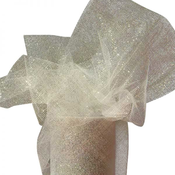 "Silver Sparkling Tulle Roll Colored - 6"" X 25yd - Fabric - Width: 6"" by Paper Mart"