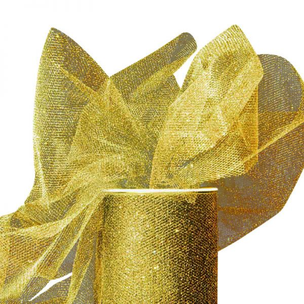 "Gold Sparkling Tulle Roll Colored - 6"" X 25yd - Fabric - Width: 6"" by Paper Mart"