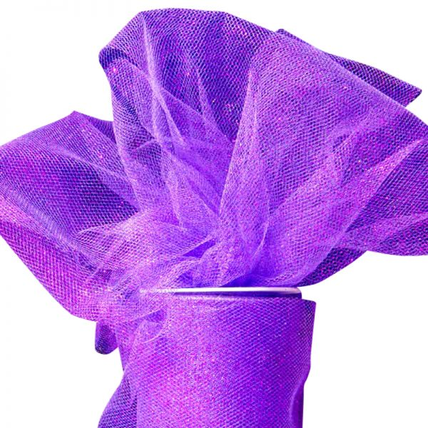 "Purple Sparkling Tulle Roll Colored - 6"" X 25yd - Fabric - Width: 6"" by Paper Mart"