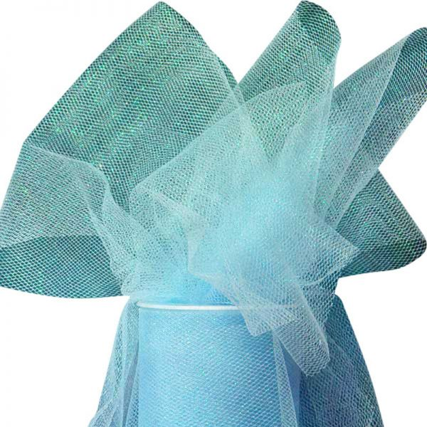 "Light Blue Sparkling Tulle Roll Colored - 6"" X 25yd - Fabric - Width: 6"" by Paper Mart"
