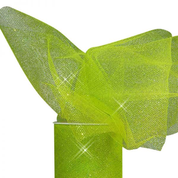 "Apple Green Sparkling Tulle Roll Colored - 6"" X 25yd - Fabric - Width: 6"" by Paper Mart"