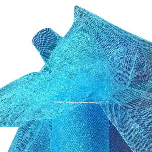 "Turquoise Sparkling Tulle Roll Colored - 6"" X 25yd - Fabric - Width: 6"" by Paper Mart"