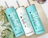 Personalized Tumbler with Straw, Bridesmaid Tumbler, Bridesmaid Gift, Insulated Tumbler, Bridal Party, Bachelorette Party, Wedding Tumbler