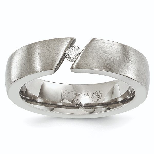 Tension-Set Brushed Titanium Diamond Wedding Band Ring for Men