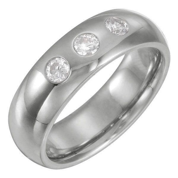 3-Stone 1/3 Carat Men's Diamond Wedding Band Ring, 14K White Gold