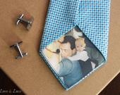 Custom Photo Tie Patch Label Groom Gift Favors Father of the Bride Groomsmen Anniversary Present FREE Gift Cases Love Note