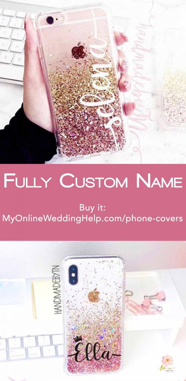 Personalized glitter sparkle iPhone case. This one's rose gold. Awesome for bridesmaids gifts. (Or gift yourself!) TN will put the name any place on the cover and in any color and makes them for other phones as well. Learn more or buy through the first listing on the page. $36.49 with name. $27.99 without. In the My Online Wedding Help products section. #MyOnlineWeddingHelp #BridesmaidsGifts #iPhoneCase