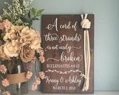 Cord of Three Strands Sign, Ecclesiastes 4:912, Alternative Unity Candle, Unity Ceremony Sign, Wedding Gift
