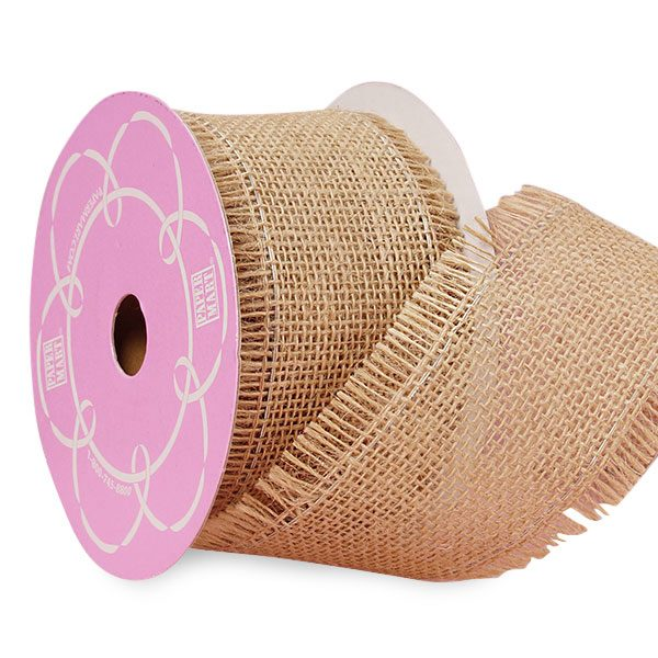 "Natural Fine Burlap Ribbon - 2-1/2"" X 10 Yards - by Paper Mart"