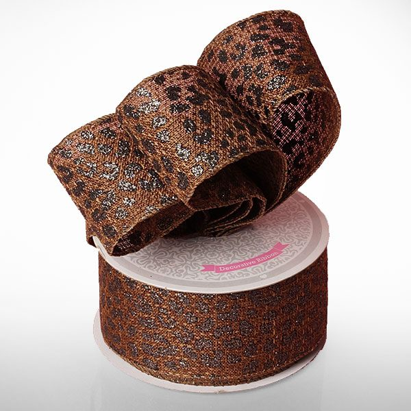 "2"" X 10 Yards Polyester Colored Black/Brown Leopard Patern Burlap Ribbon by Ribbons.com"