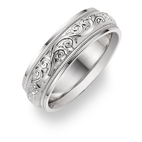 Silver Paisley Etched Wedding Band Ring