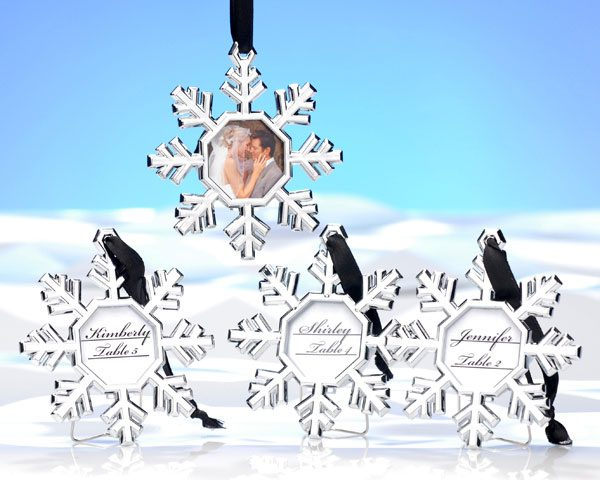 Snowflake Place Card Holder and Ornament (Set of 4)