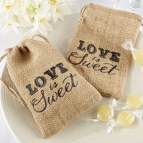 """Love is Sweet"" Burlap Bags"