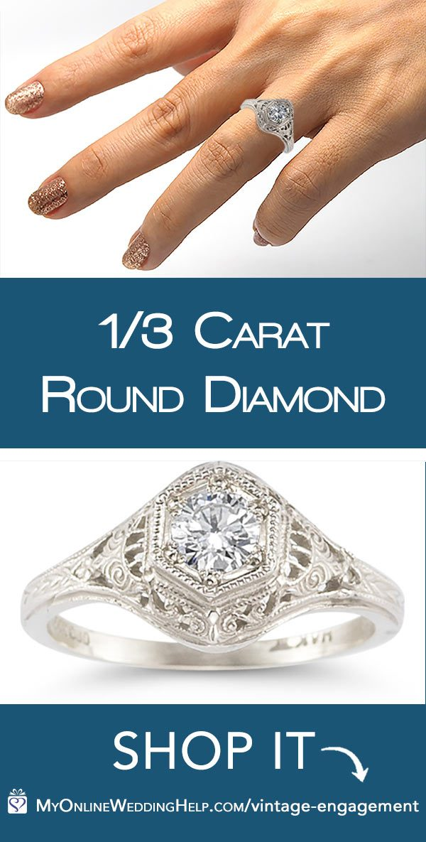 This Edwardian style vintage-look engagement ring is made from the ACTUAL MOLDS used in the same design in the 1800's. 14K gold, with a 1/3 carat round center diamond. $1,425. The bridal set, with wedding band, is $1,625. They have sterling silver for much less. Learn more or buy through the first listing. In the My Online Wedding Help product section. #MyOnlineWeddingHelp #EngagementRing #BridalSet