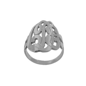 Script Sterling Silver Initial Monogram Ring