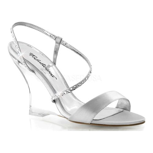 Women's Fabulicious Lovely 417, Size: 8 M, Silver Satin/Clear