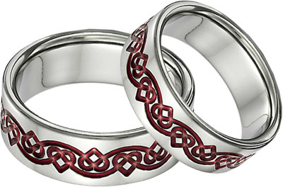 Red Titanium Celtic Heart Wedding Band Ring Set