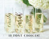Personalized Champagne Flutes / Gold Foil Champagne Flutes / Champagne Glasses / Bridesmaid Proposal Idea / Bridesmaid gift / Wedding Favor