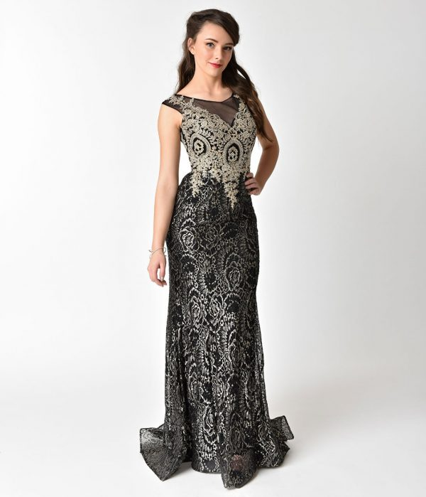 Black & Gold Sheer Illusion Lace Dress