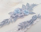Wedding Garter, Lace Wedding Garter Set, Bridal garter set, Blue Garter, Something Blue