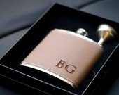 Personalized Groomsmen Flasks, Leather Wrapped