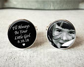 Father of the bride cufflinks, personalized wedding cuff links, Ill always be your little girl, wedding keepsake gift For dads