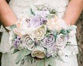 Lavender, blush Wedding Bouquet made with sola flowers choose your colors Custom Alternative bridal bouquet bridesmaids bouquet