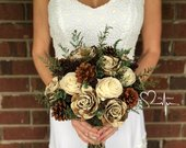 Woodland Pine Cone Sola Bouquet, Rustic Winter Bouquet, Ivory and Brown, Green Caspia, Dried Wedding Flowers, Round Gathered Stems Bouquet