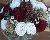 Marsala Burgundy Bouquet, winter bouquet, Cedar Rose Pine cone bouquet, Sola bouquet, wedding bouquet, cream bouquet, gold bouquet